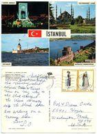 Turkey 1970's Postcard Istanbul Scenic Views, Greek Stamps & Mykonos Cancel - Turkey