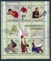 D- [400945] **/Mnh-Guinée-Bissau 2006 - Les Sportifs Célèbres, Tennis, Vélos - Célébrités