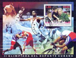 Cuba 2004 Cycling, Chess, Boxing, Sports Used Cancelled M/Sheet (U-30) - Chess