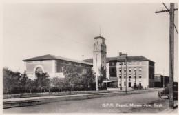 Moose Jaw Saskatchewan Canada, CPR Canada-Pacific Railroad Depot, C1920s/30s Vintage Real Photo Postcard - Saskatchewan