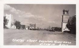 Nipawin Saskatchewan Canada, Centre Street Scene, Town Hall, C1930s/40s Vintage Real Photo Postcard - Saskatchewan