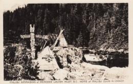 Princess Louisa Inlet BC Canada, Malibu Club, Amphibian Plane Landing In Inlet, Totem C1940s Vintage Real Photo Postcard - British Columbia