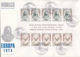 MONACO  Block 7, FDC, Europa CEPT: Skulpturen 1974 - Europa-CEPT