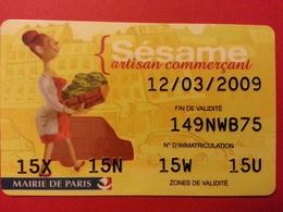 Stationnement Sésame Artisan Commerçant Mairie De Paris PIAF (BF1217) - Frankrijk