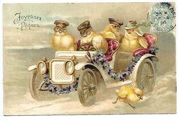 JOYEUSES  PAQUES - Poussins - Carte Gaufrée - Easter