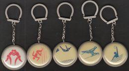 Universiade, Universiada Moscow 1973 / Sport / Keyring, Keychain, Key Chain / Wrestling, Waterpolo, Gymnastics, Atletics - Other