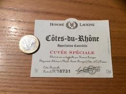 Etiquette ** De Vin « CÔTES DU RHÔNE - CUVÉE SPÉCIALE - HONORE LAVIGNE - Nuits-Saint-Georges (21)» - Côtes Du Rhône