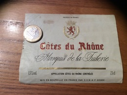 Etiquette *** De Vin « CÔTES DU RHÔNE - Marquis De La Tuilerie - SVG (22)» - Côtes Du Rhône