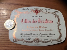 Etiquette * De Vin « CÔTES DU RHÔNE - Cellier Des Dauphins - Tulette (26)» 1986 - Côtes Du Rhône