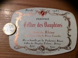 Etiquette De Vin « CÔTES DU RHÔNE - Cellier Des Dauphins - Tulette (26)» 1987 - Côtes Du Rhône
