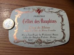 Etiquette De Vin « CÔTES DU RHÔNE - Cellier Des Dauphins - Tulette (26)» 1988 - Côtes Du Rhône