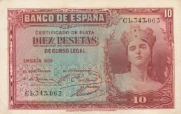 SPAGNA 10 PESETAS 1935 - AU (BA6 - [ 2] 1931-1936 : République