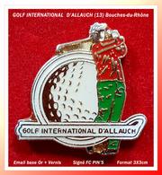 SUPER PIN'S GOLF : GREEN Du GOLF INTERNATIONAL D'ALLAUCH (13) Bouches Du Rhone, émail Base Or + Vernis, 3X3cm - Golf