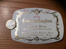 Etiquette De Vin « CÔTES DU RHÔNE ROSÉ - Cellier Des Dauphins - Tulette (26)» 1988 - Côtes Du Rhône