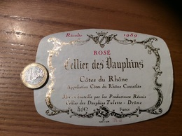 Etiquette De Vin « CÔTES DU RHÔNE ROSÉ - Cellier Des Dauphins - Tulette (26)» 1989 - Côtes Du Rhône