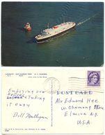 Canada 1957 Postcard Ship M.V. Bluenose, Yarmouth Nova Scotia To Elmira NY - Ferries