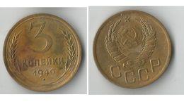 RUSSIE 3 KOPECKS 1940 - Russia