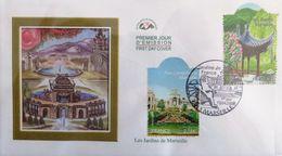 FRANCE 4173 Et 4174 FDC Premier Jour Les Jardins De Marseille Loncgchamp Borély - FDC