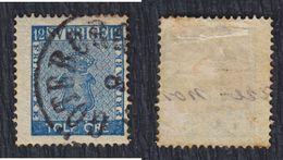 Sweden 1858 Value Of 12, Used (o) Michel 9 - Suède