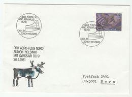 1981 DEER Pic  FIRST FLIGHT COVER SWISSAIR DC9 Zurich To Helsinki Switzerland Finland Aviation Stamps - Stamps