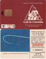 """TARJETA TELEFONICA DE ESPAÑA USADA. 05.95 (416). CAFÉ DE COLOMBIA. Falta """" En Capitán. - Spain"""
