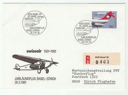 1981 SPECIAL FLIGHT COVER SWISSAIR Basel Zurich  Switzerland Aviation Stamps - Airplanes