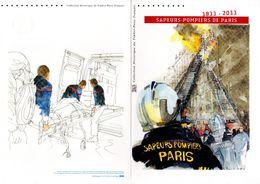 """Beau Document Officiel 1er Jour De 4 Pages De 2011 """"  200 ANS DES SAPEURS-POMPIERS DE PARIS """" N° YT 4582-91. DPO FIREMAN - 2010-...."""