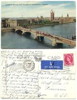 Great Britain 1956 Postcard London - Lambeth Bridge & Parliament, 8p QEII Stamp - Houses Of Parliament