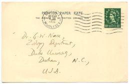Great Britain 1956 Academic Postcard Southall, Middlesex To Durham, North Carolina - 1952-.... (Elizabeth II)