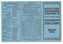 BERLIN BAHNHOF HOCH - UND UNTERGRUNDBAHN - HOCHBAHN GESSELLSCHAFT 1913 PLAN AVEC STATIONS - Europe