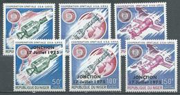 Niger Poste Aérienne YT N°245/247 Et 260/262 Coopération Spatiale USA-URSS Et Surchargé Jonction 17 Juillet 1975 Neuf ** - Niger (1960-...)