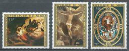 Niger Poste Aérienne YT N°249/251 Paques 1975 Tableaux Religieux Neuf ** - Niger (1960-...)