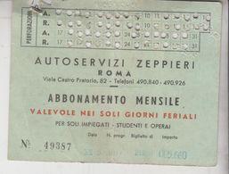 Biglietto Ticket Abbonamento Mensile Autoservizi Zeppieri 1955 - Abbonamenti