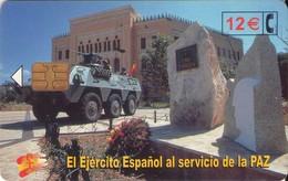 TARJETA TELEFONICA DE ESPAÑA USADA. 07.02 - TIRADA 50200 (423). EL EJERCITO ESPAÑOL AL SERVICIO DE LA PAZ. - Spain