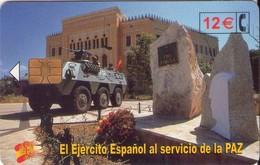 TARJETA TELEFONICA DE ESPAÑA USADA. 01.03 - TIRADA 50200 (424). EL EJERCITO ESPAÑOL AL SERVICIO DE LA PAZ. - Spain