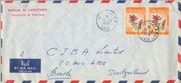1970 , LAOS , SOBRE DEL BANCO DE INDOCHINA CIRCULADO ENTRE VIENTIANE Y BASILEA , ESPECIAS , CÚRCUMA - Laos
