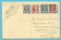193+194+199 Op Entier Met Stempel ANTWERPEN Naar Holland - 1922-1927 Houyoux