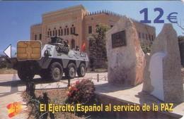 TARJETA TELEFONICA DE ESPAÑA USADA. 01.06 - TIRADA 50200 (428). EL EJERCITO ESPAÑOL AL SERVICIO DE LA PAZ. - Spain