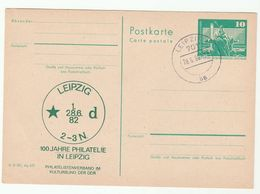1982 STATIONERY  100 Years PHILATELY IN LEIPZIG EVENT East Germany Ddr Stamps Postal Card Cover Philatelic - Esposizioni Filateliche