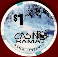 $1 Casino Chip. Casino Rama, Rama, Ontario, Canada. K96. - Casino