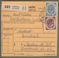 """Bund: Paketkarte Mit Michel-Nr. 134 + 135: """" Dauerserie  Posthorn """", Gest..  X - BRD"""