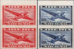 LIBERIA 1948 Airplanes First Flight Air MARG.IMPERF.PAIRS:2 [non Dentelé,Geschnitten,no Dentado] - Liberia