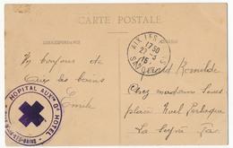 """FRANCE - Cachet """"Hopital Aux. Gd. Hotel - Ville D'Aix Les Bains"""" Sur CP """"le Grand Cercle"""" 1915 - Marcophilie (Lettres)"""