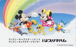 Télécarte Japon / 110-814 - DISNEY - Mickey Minnie Donald Chien Dog - Japan Phonecard Telefonkarte / Rainbow - MD 4024 - Disney