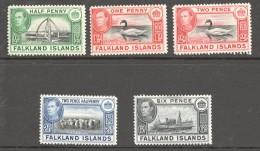 FALKLAND IS.  George VI Selection SG 146, 147a, 150, 151, 156  MM- MH - Falkland Islands