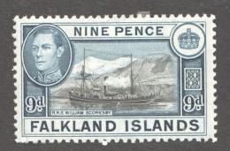 FALKLAND IS.  George VI   9d. Supply Ship  SG 157  MM - Mh - Falkland Islands