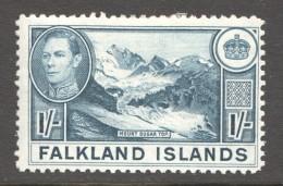 FALKLAND IS.  George VI  1/-  Mount Sugsar Top  Thin Paper SG 158c  MM - MH - Falkland Islands