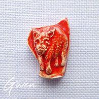 Feve Ancienne Artisanale Sanglier Cochon Rouge - Animals