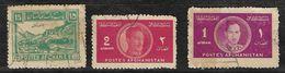 Afghanistan Stamp 1934 Kabul Fortress 15af, 1939 King Mohammed Zahir Shah 2af, 1af - Afghanistan