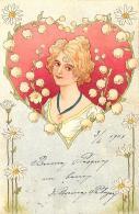 [DC11604] CPA - STUPENDA CARTOLINA ILLUSTRATA - DONNA AL CENTRO DEL CUORE - PERFETTA - Viaggiata 1901 - Old Postcard - Illustratori & Fotografie